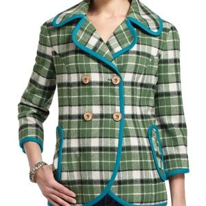 Tabitha Anthropology Green Piped Plaid Coat